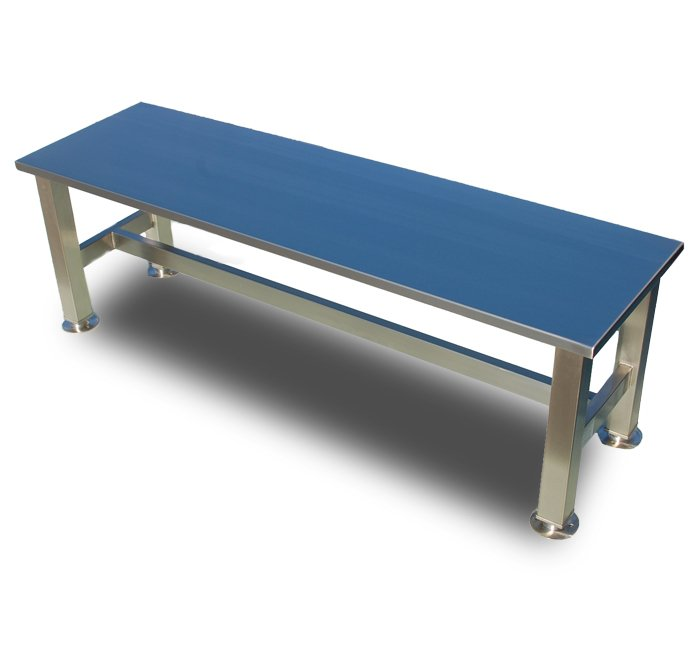 stainless steel hospital gowning bench with crossrails floor mount