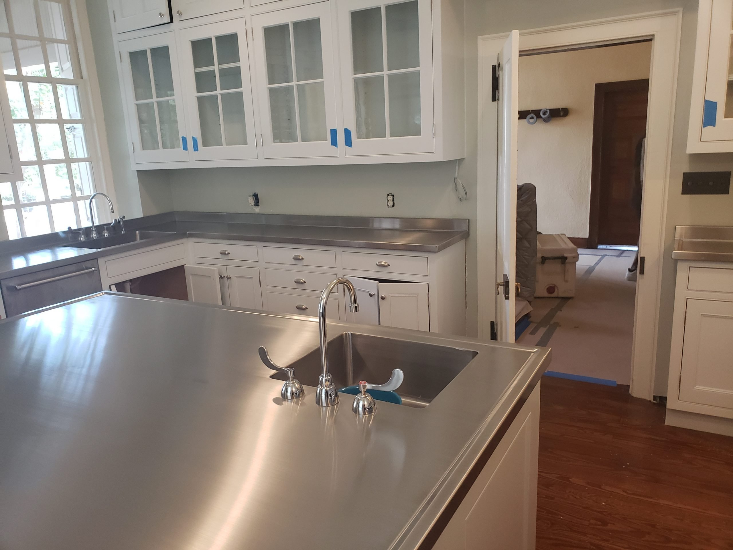Custom Stainless Steel Kitchen Island Top with integral vegetable sink