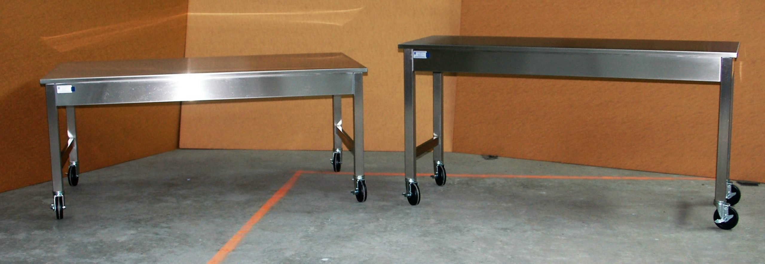 Custom Stainless Steel Mobile Tables Sitting and Standing Height