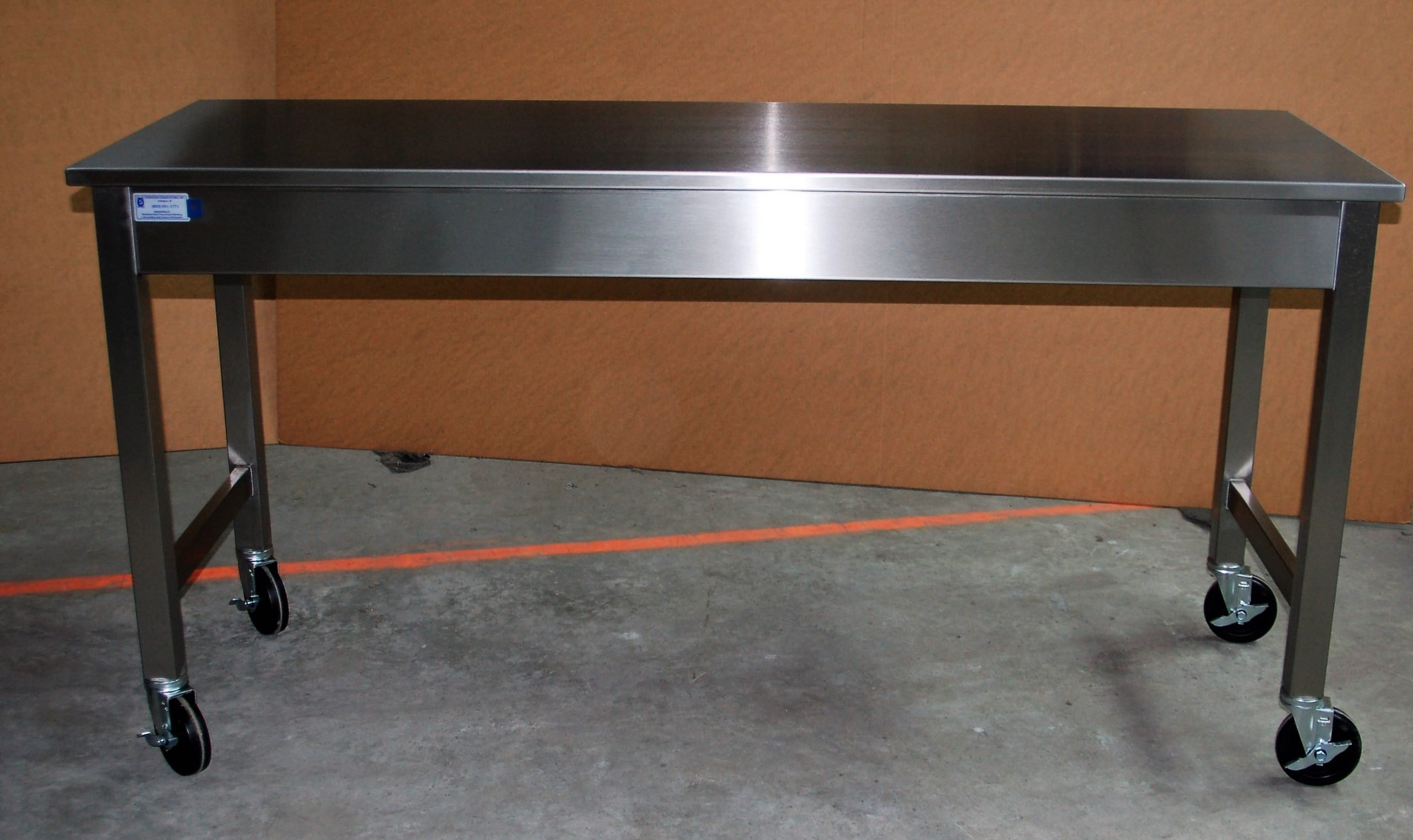 Custom Stainless Steel Mobile Table Standing Height