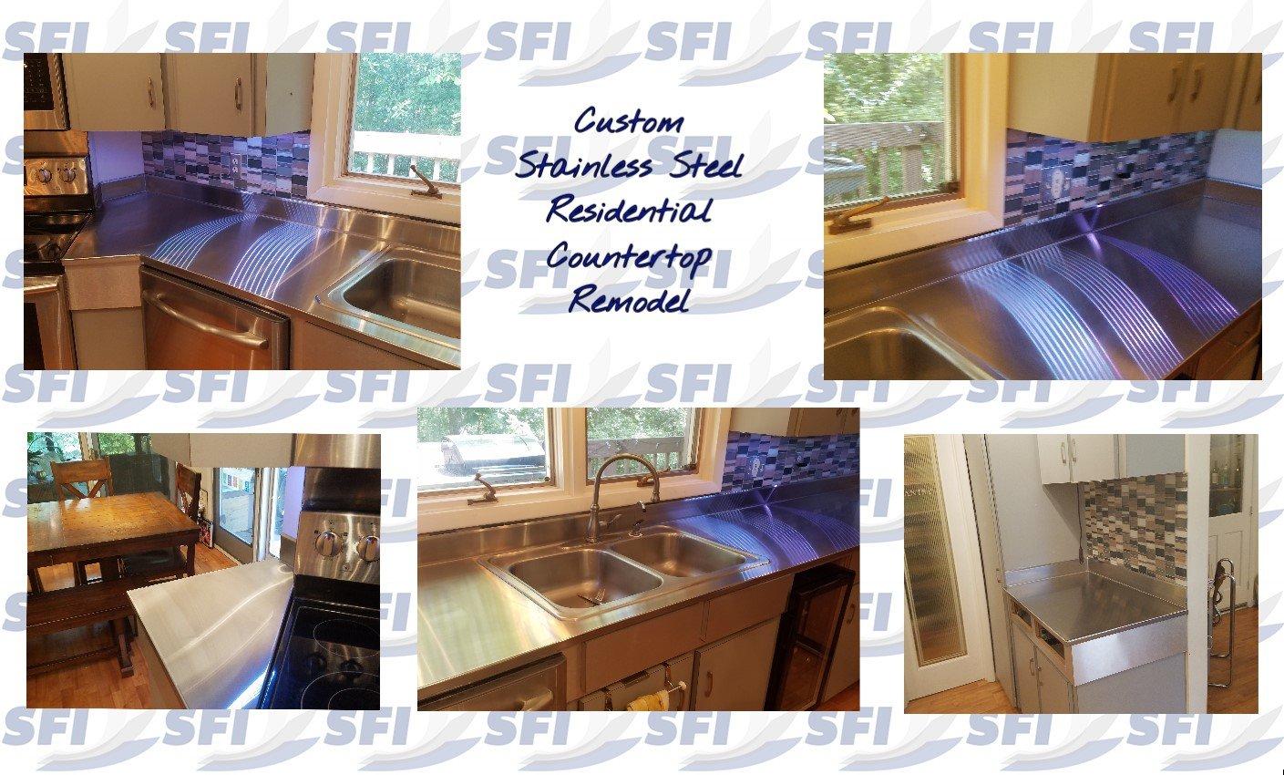 Custom Stainless Steel Residential Countertop Remodel Stainless Overlay