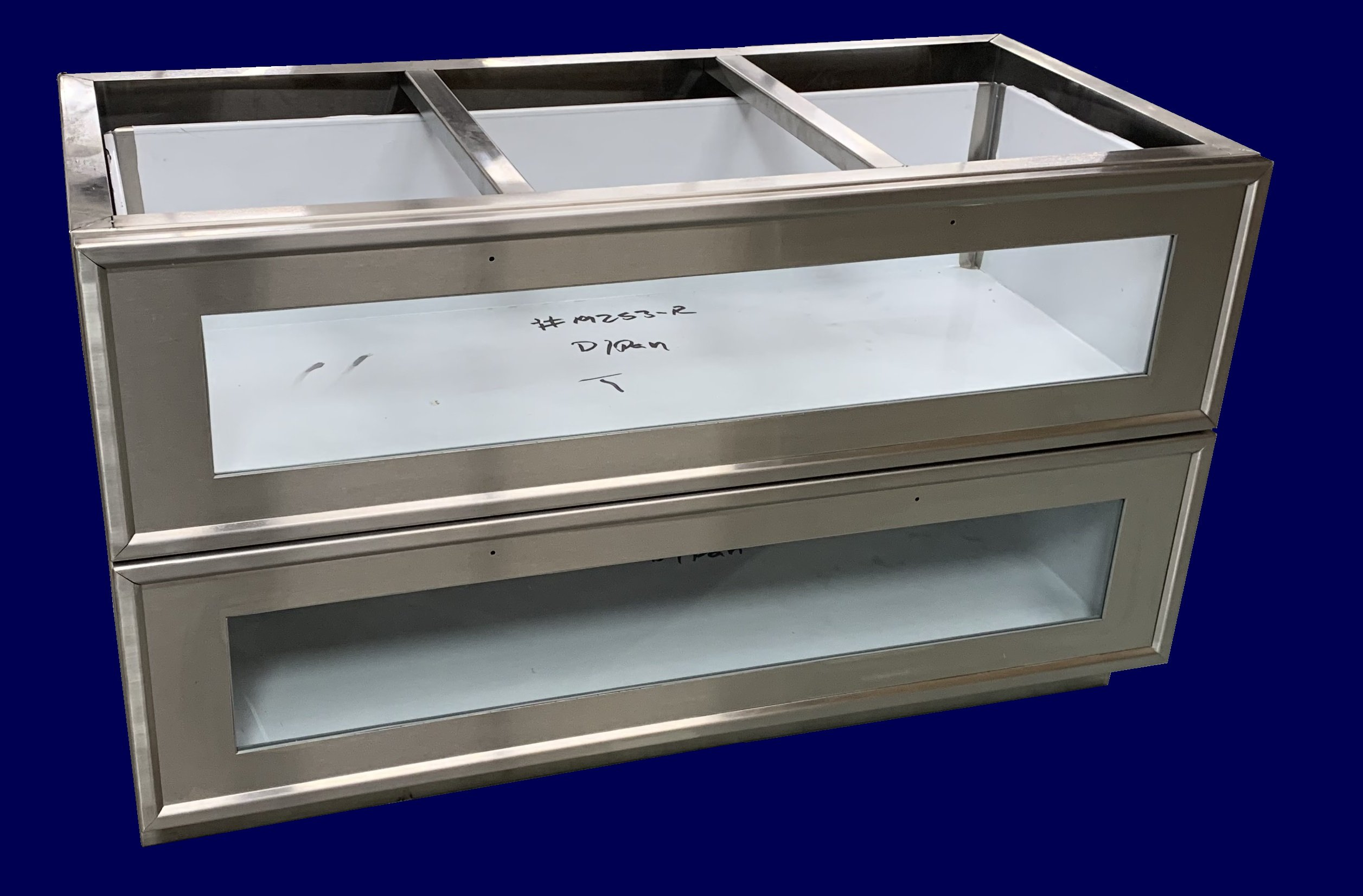Custom stainless steel base cabinet glass drawer fronts