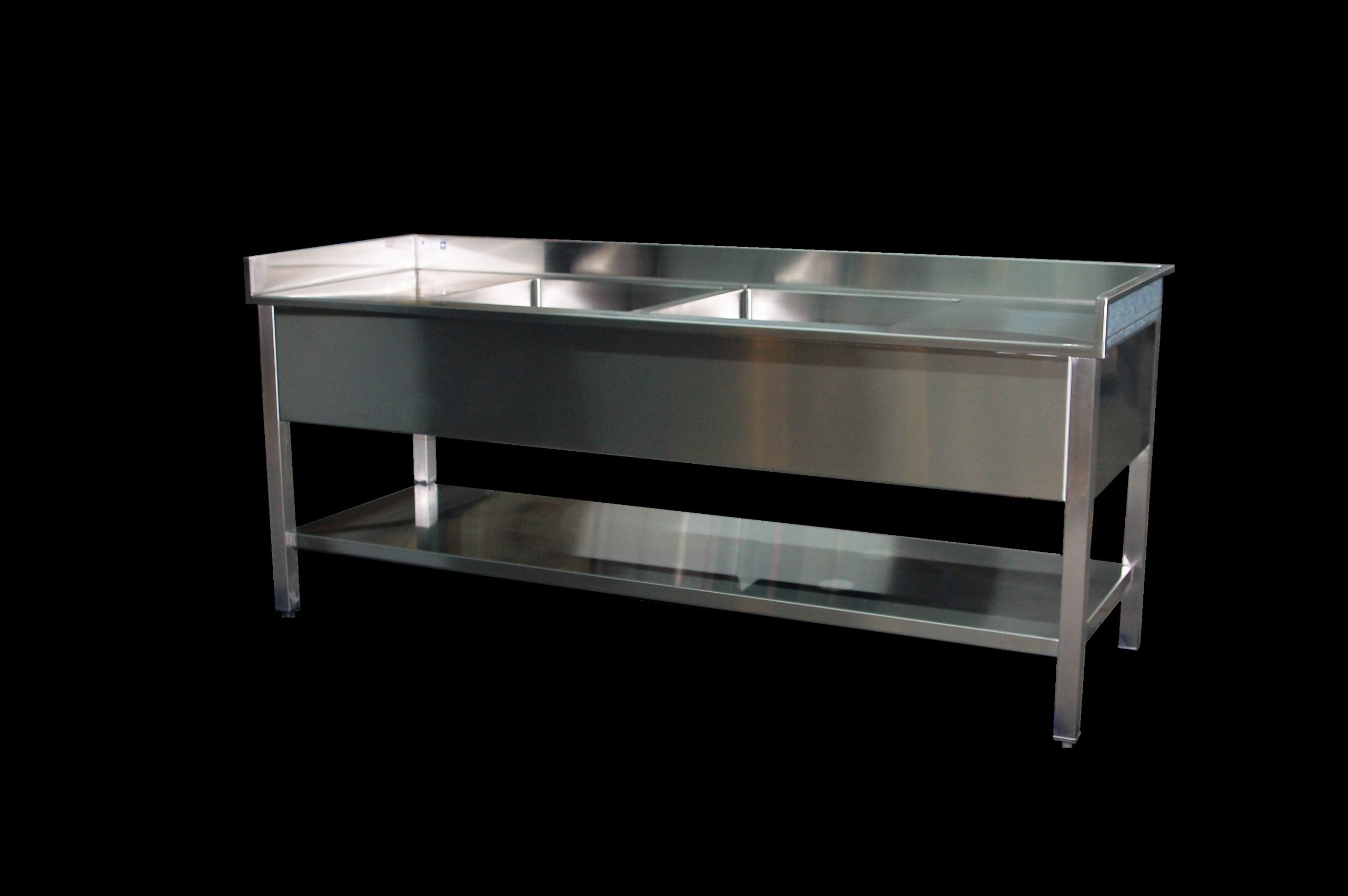 Double Bowl Sink Table with Skirt and Undershelf Custom Stainless Steel