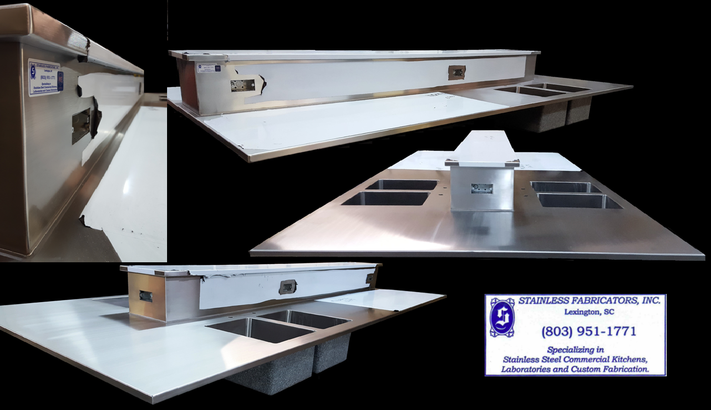 Educational Food Laboratory Custom Stainless Steel Tops with chase riser