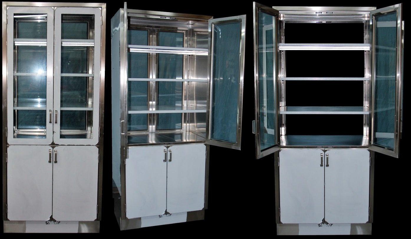 Pass-thru Tall Storage Stainless Steel Cabinet with Glass Doors