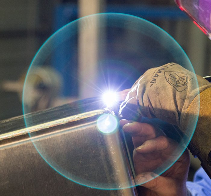 Welding up close with light circle