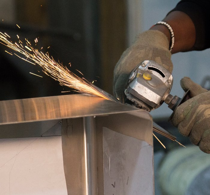 sparks next to stainless steel product
