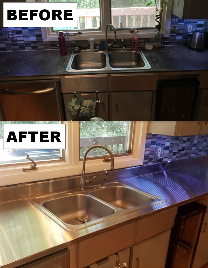 STAINLESS STEEL RESIDENTIAL KITCHEN COUNTERTOP REMODEL BEFORE & AFTER