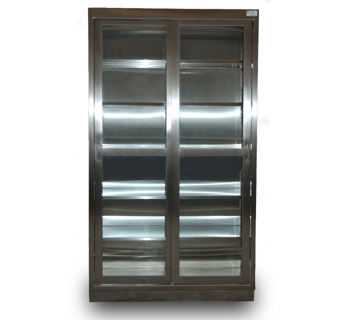 Stainless Steel Floor Case Unit tall storage cabinet with stainless steel framed sliding glass doors
