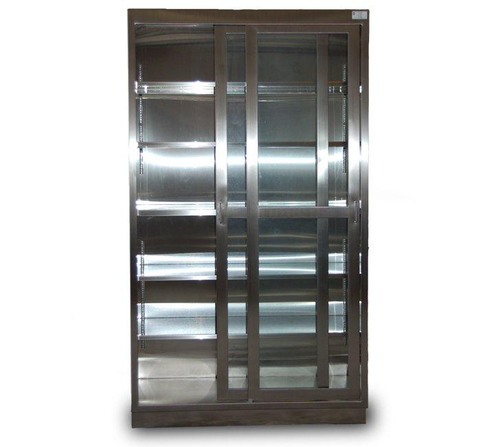Stainless Steel Floor Case Unit with 5 adjustable shelves sliding stainless steel framed glass doors