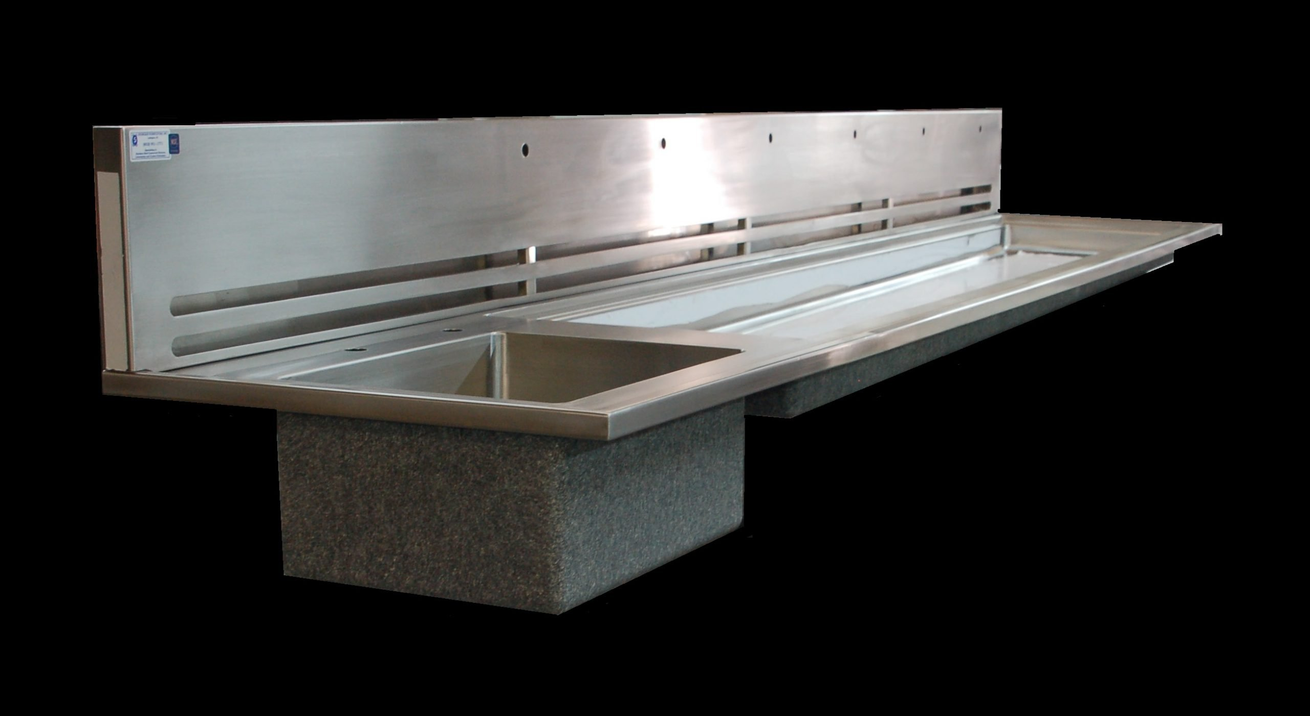 Vented Top with integral sink and trough custom stainless steel