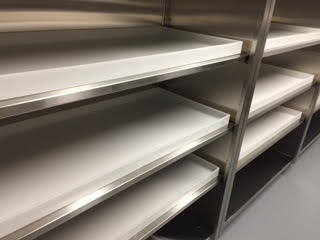 chemical room 3 floor case units custom stainless steel with shelf pans