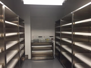 chemical room 1 floor case units custom stainless steel with shelf pans