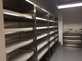 chemical room 2 floor case units custom stainless steel with shelf pans