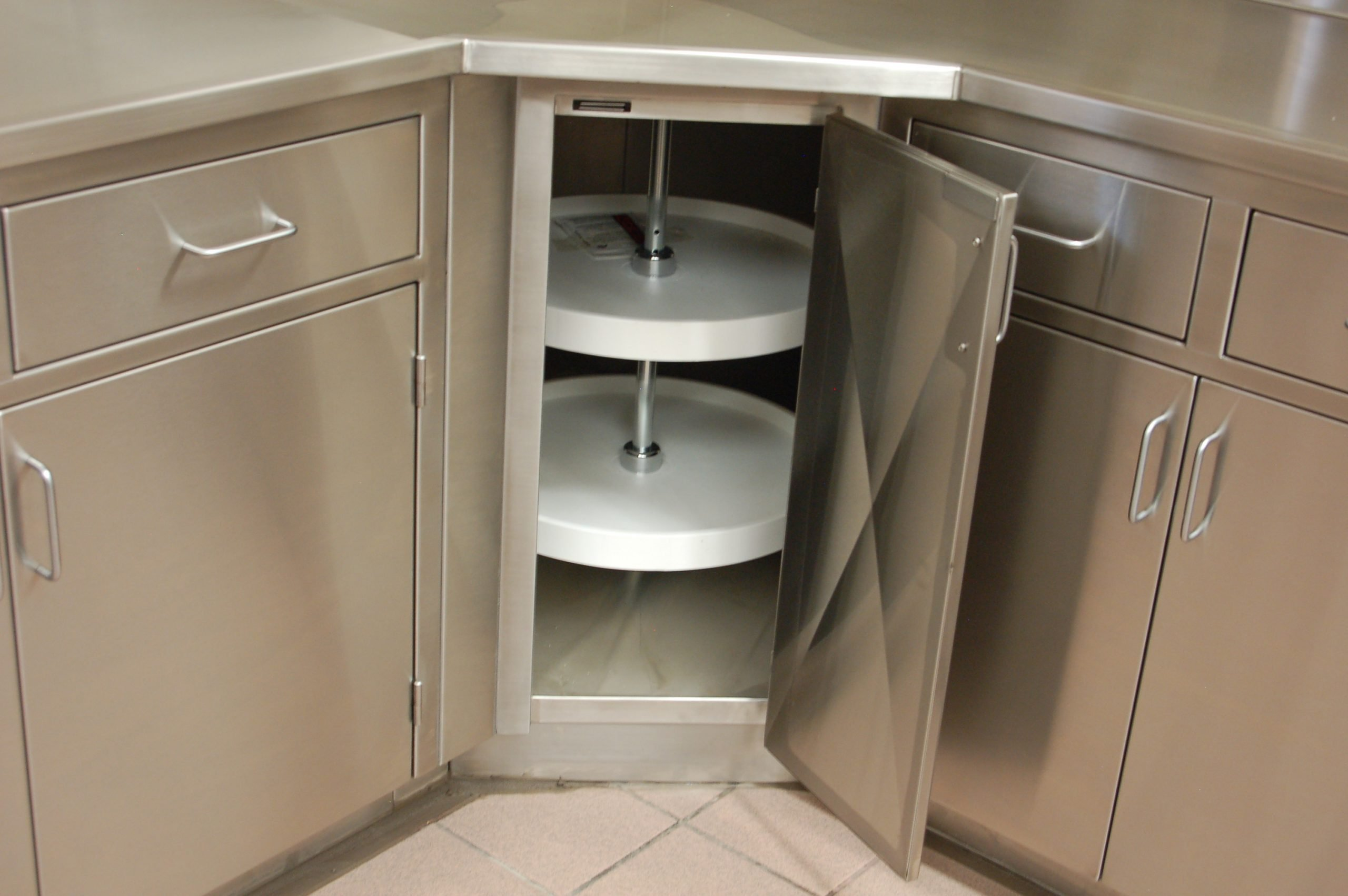 corner base cabinet with lazy susan custom stainless steel