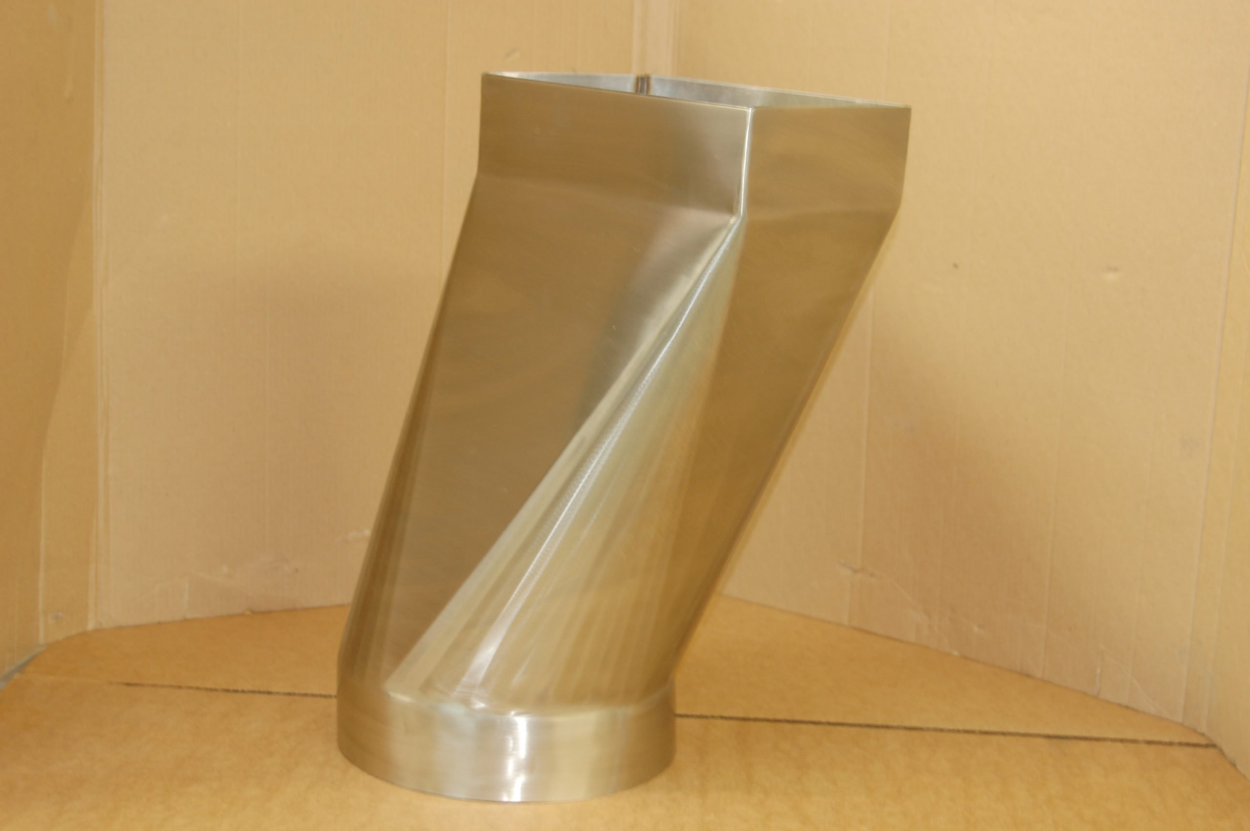custom stainless steel exhaust duct transitional circle to square