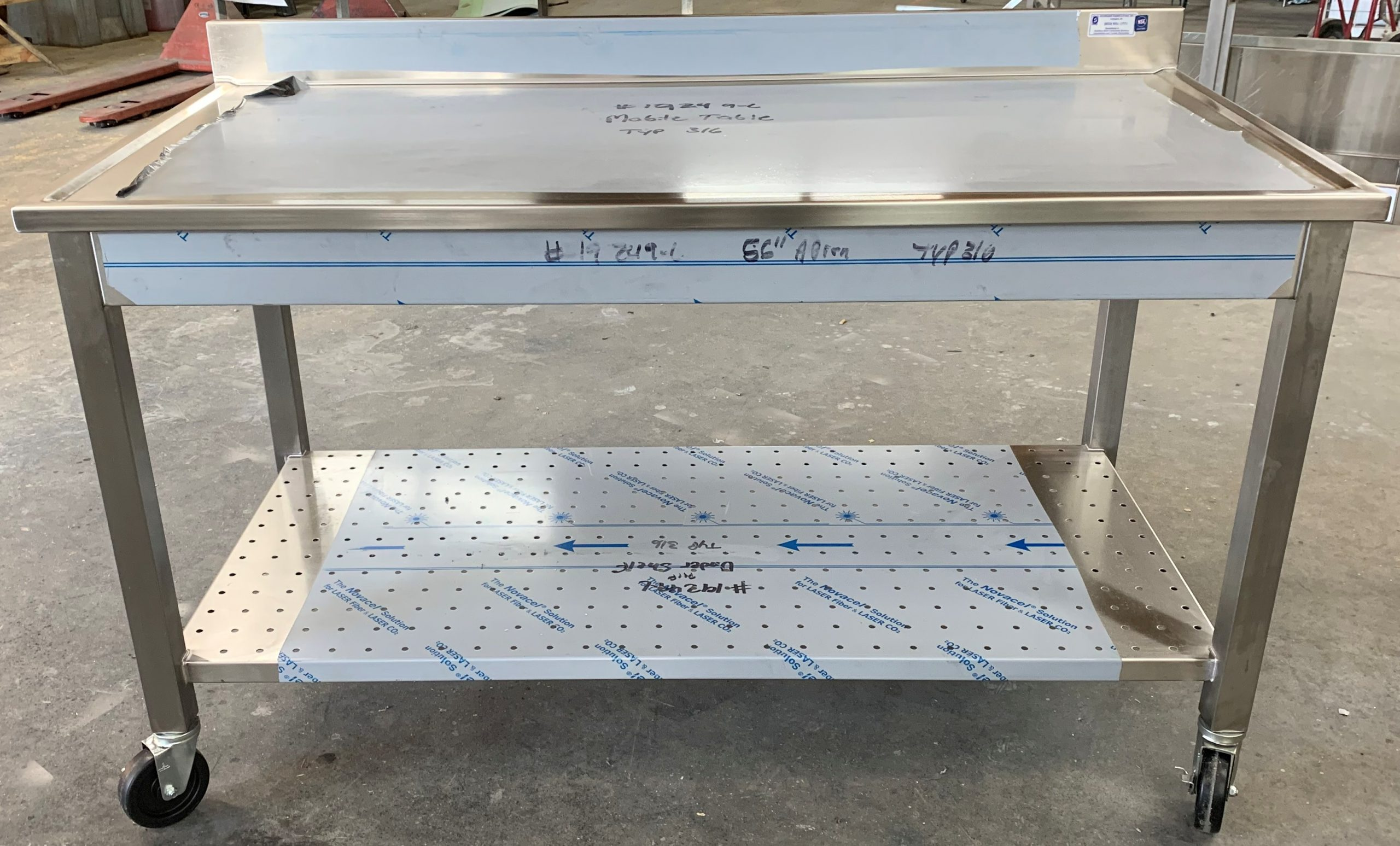 custom stainless steel table with perforated undershelf