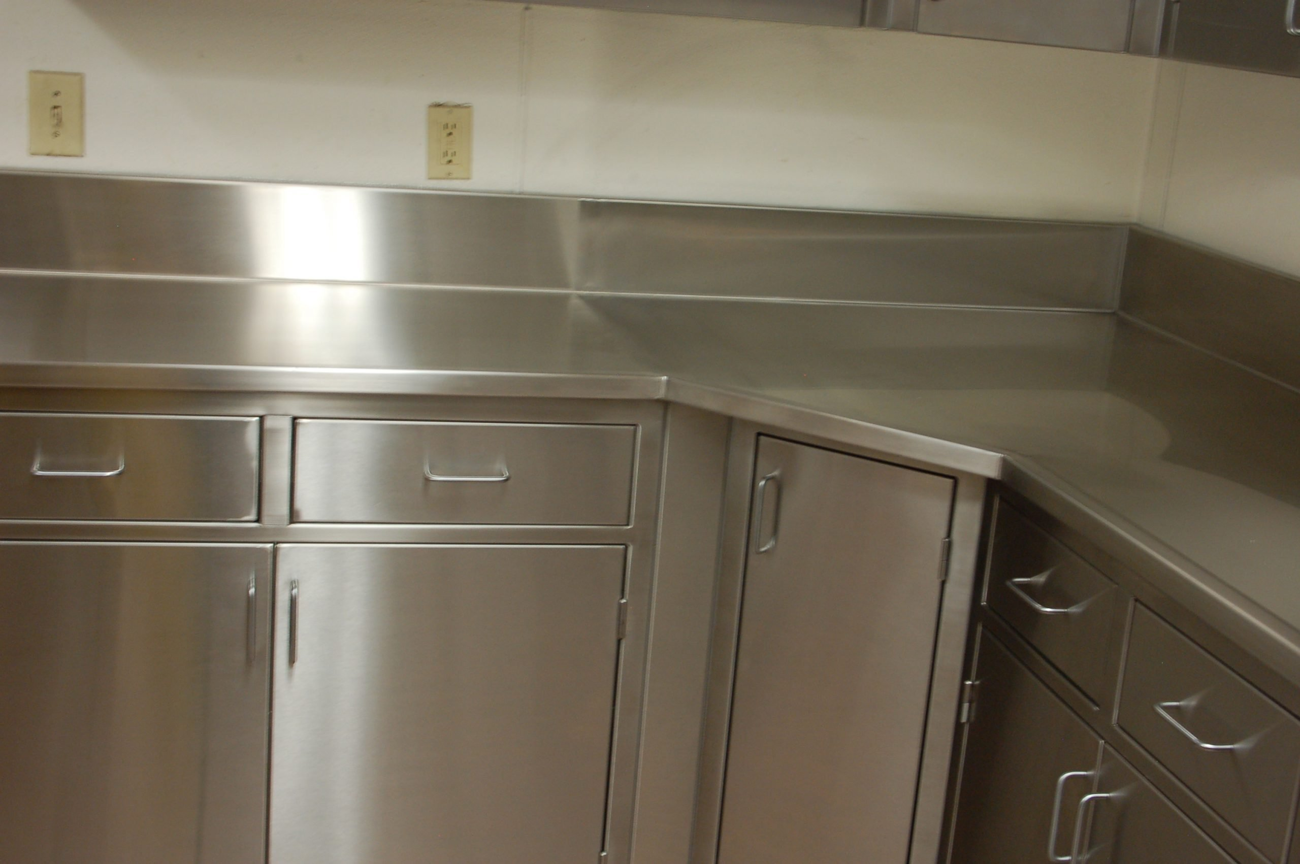 mitered front corner L shape stainless steel top custom