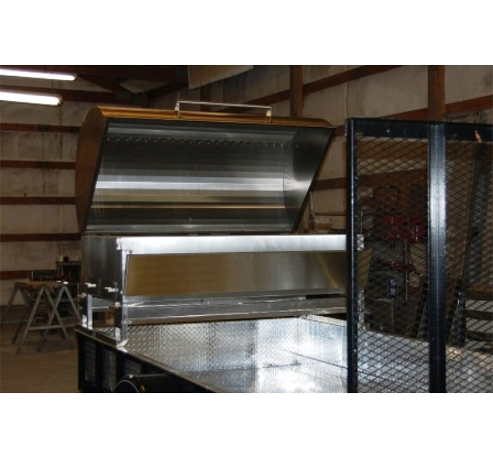 mobile stainless steel grill on pull behind trailer diamond plated trailer floor and sides