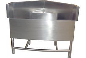 NSF approved laboratory custom stainless steel corner sink with faucet fixture ledge
