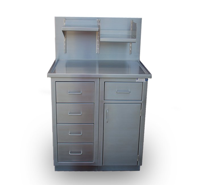 stainless steel base cabinets with top, integral splash with adjustable shelves