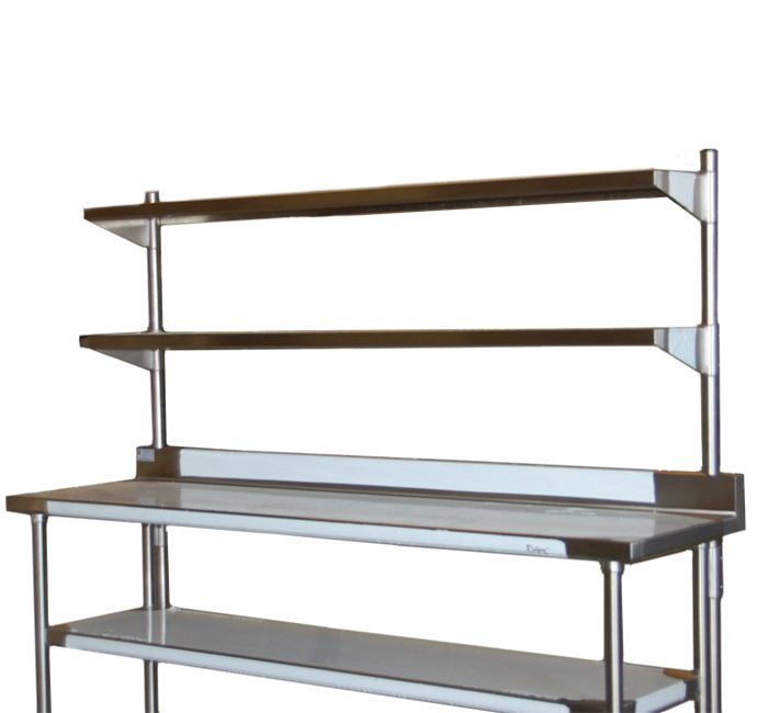 stainless steel elevated shelves on work table