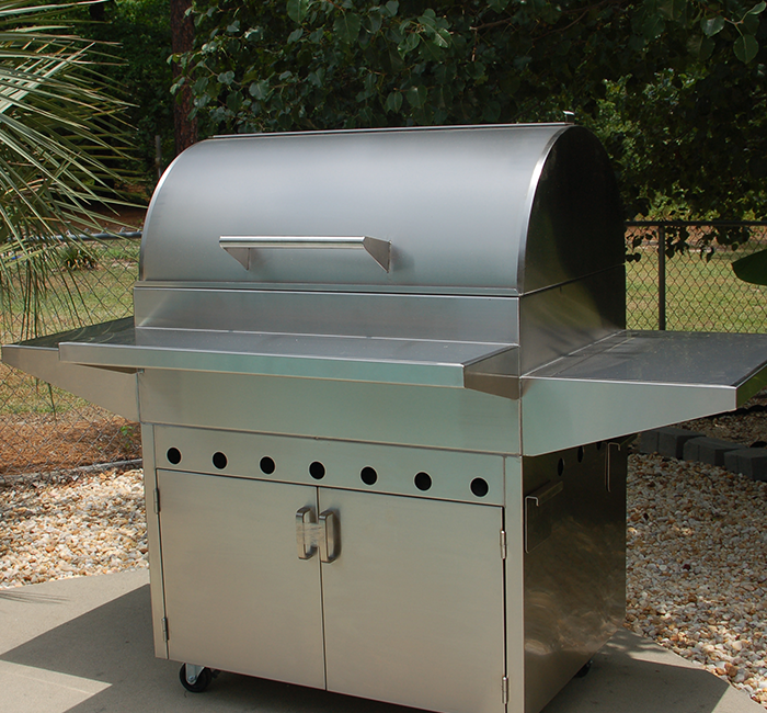 stainless steel grill on base cabinet mobile