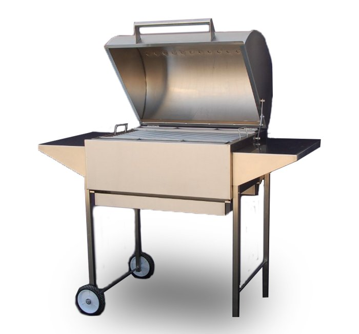 Stainless Steel Grill with Shelves and Removable Coal Trays