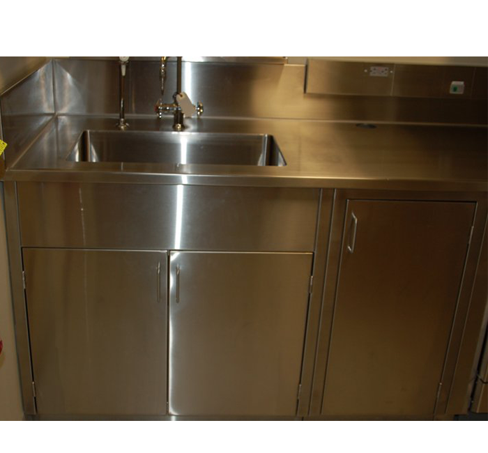 Stainless Steel Integral Sink and Stainless Steel Sink Base Cabinet
