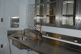 Stainless Steel Laboratory Top with Integral Sink Wall Cabinets