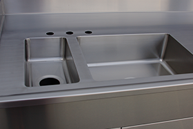 Stainless Steel Laboratory Top with Integral Sinks Marine Edge and Back Splash