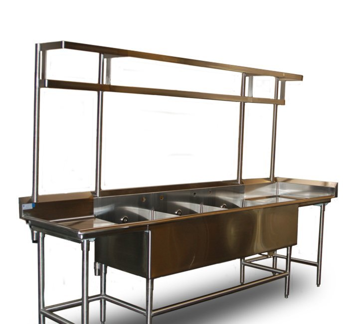 stainless steel scullery sink with top mounted pot rack