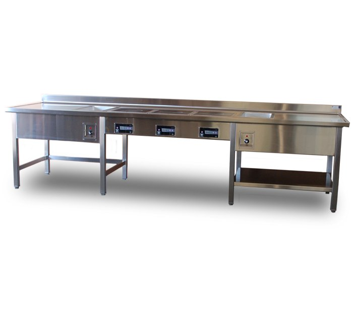 stainless steel table with hot food units