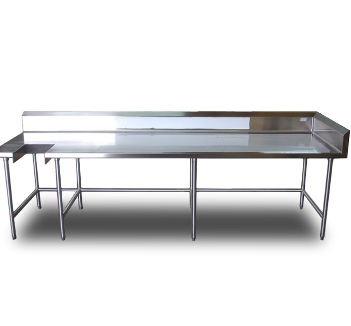 stainless steel table with trash chute cut out