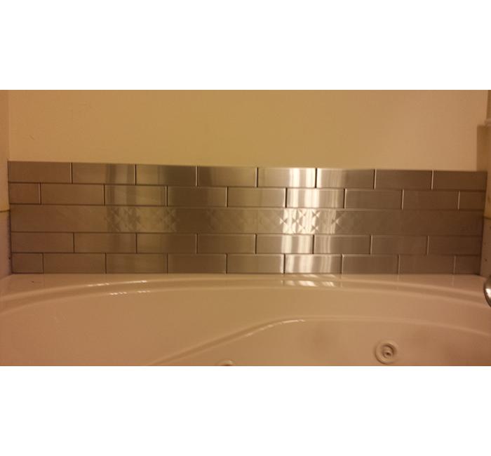 stainless steel tile style bathtub splash