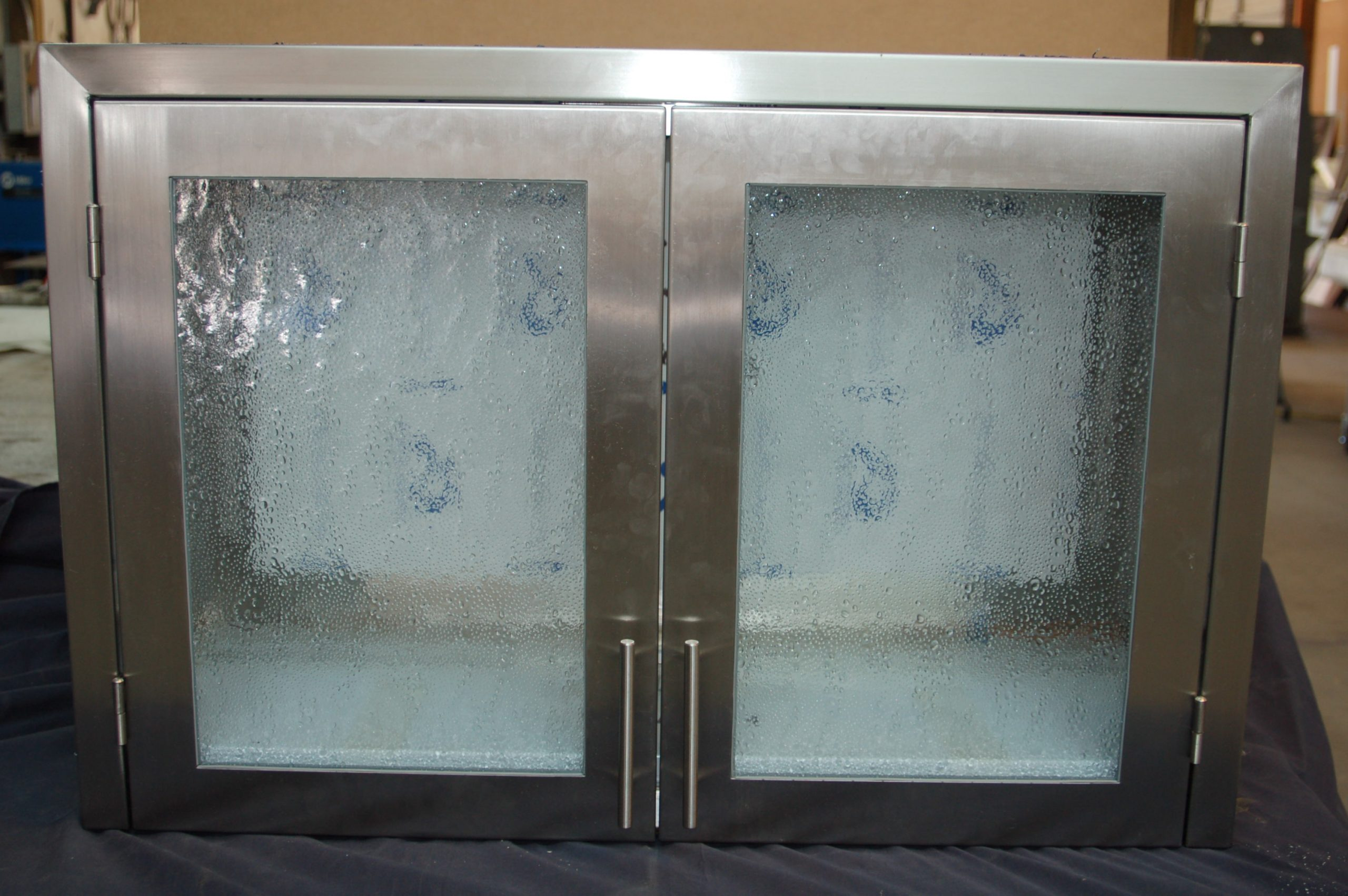textured glass wall cabinet