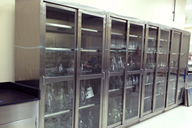 Tall Storage Cabinets Stainless Steel With Glass Sliding Doors Adjustable Shelves Laboratory Floor Case Unit