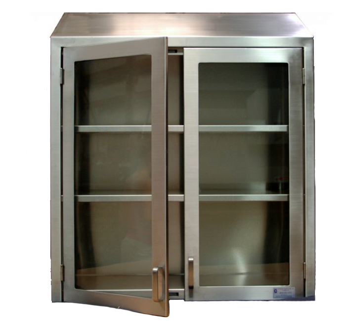 wall cabinet glass hinged doors integral sloping top cap with 2 adjustable shelves