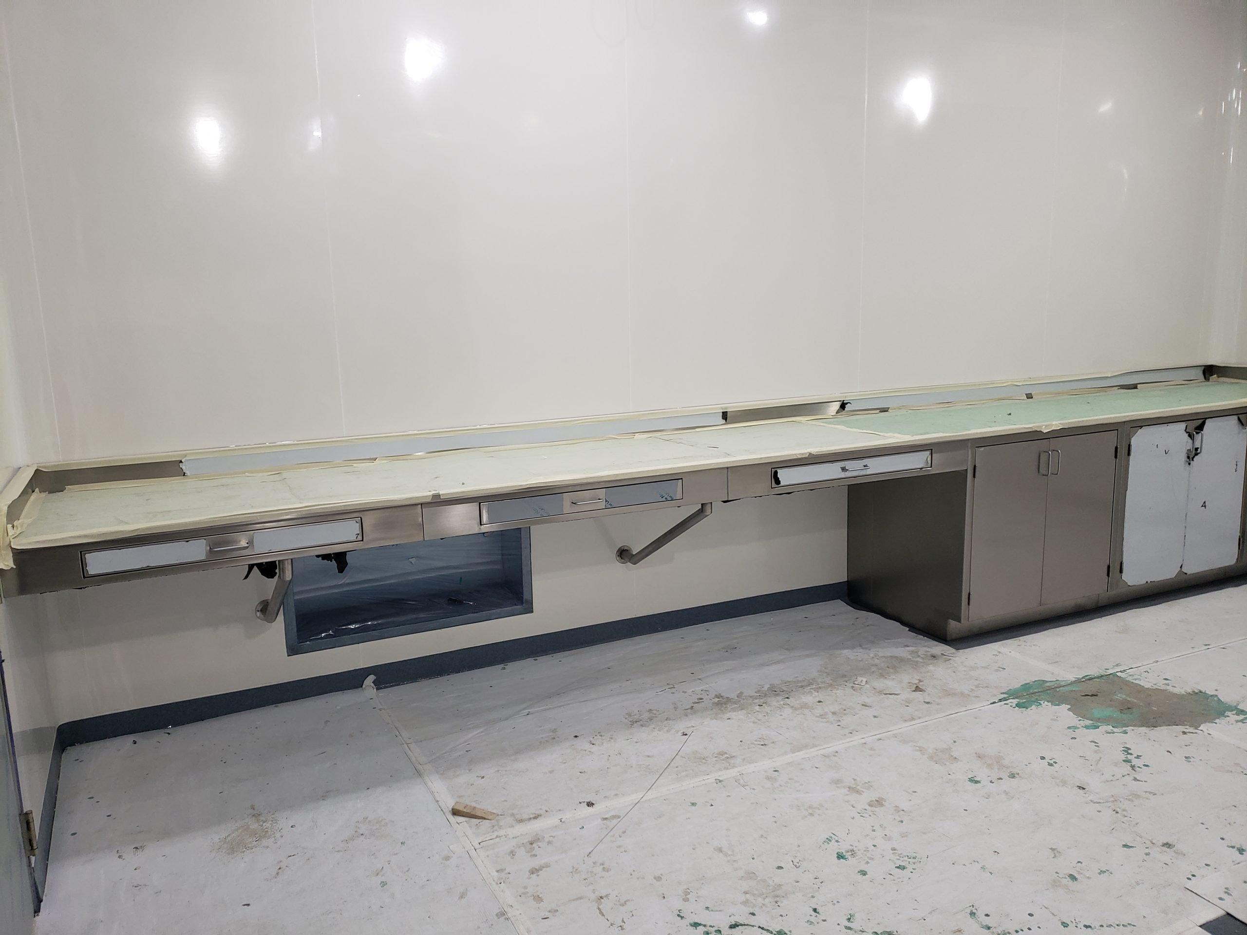 stainless steel base cabinet desk unit